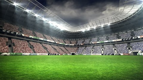 View of a rugby stadium in night during world cup