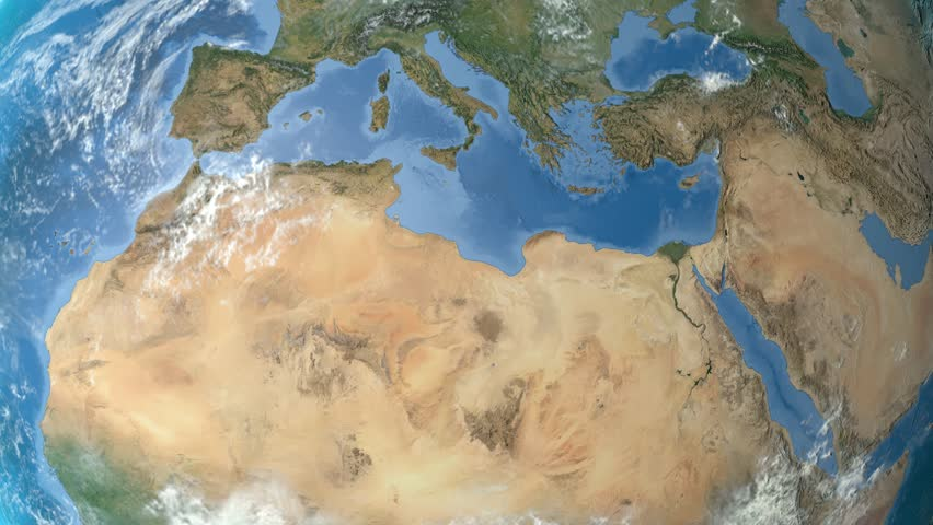 Tunisia outlined zoomed on the rotating Earth. Satellite high resolution (86400 px) raster used. Elements of this image furnished by NASA. | Shutterstock HD Video #12473132