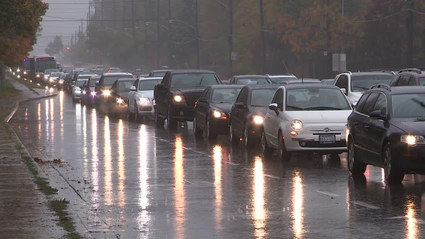 Toronto, Ontario, Canada October 2015 Toronto traffic jam and gridlock in heavy rain storm