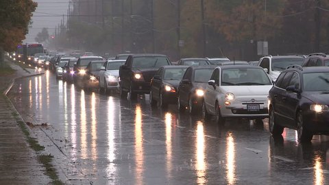 Toronto, Ontario, Canada October 2015 Toronto traffic jam and gridlock in heavy rain storm