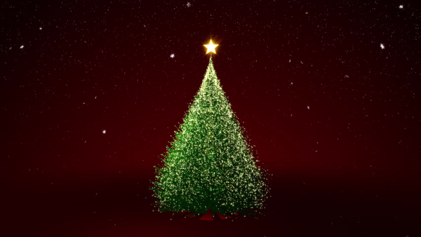 4K Resolution Of Christmas Tree With Yellow Lights In Tree ...