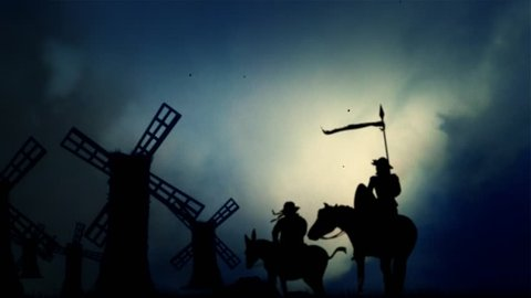 Don Quixote and Sancho Panza Standing in front the Windmills in a Stormy Dark day with wind and Lightnings.