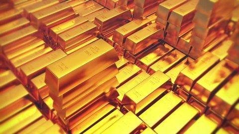 4k Gold bullion gold bars treasury wealth Ingot luxury finance goods trading,3D animation of stacked gold bars. cg_03171_4k