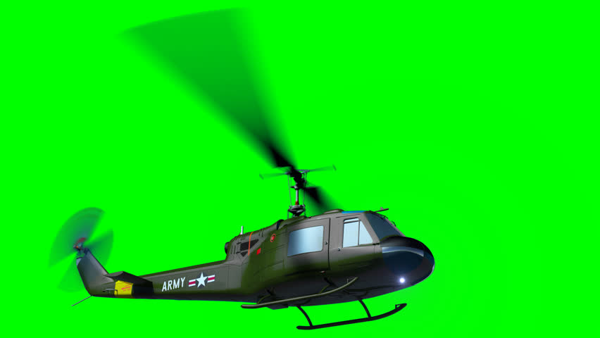 Render of helicopter Huey army fly on green screen