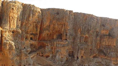 MT ARBEL, ISRAEL - Beautiful 4K aerial view of the peak and zealots caves near Tiberias, using a DJI Inspire drone.