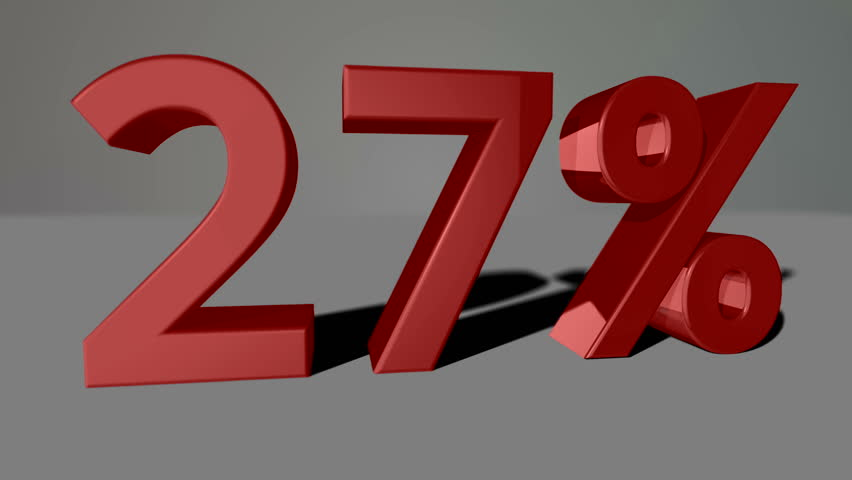 Red growing 3D numbers, counting up to 73% including luma matte   Shutterstock HD Video #12616079