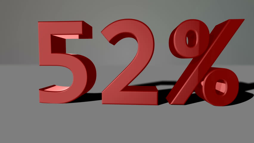 Red growing 3D numbers, counting up to 83% including luma matte | Shutterstock HD Video #12616142