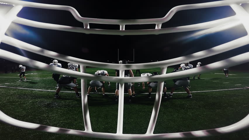 First person point of view from inside a football player's helmet, from the huddle to running a touchdown