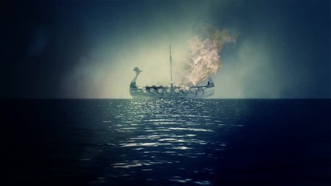 Boat in Flames as part of a Traditional Viking Funeral
