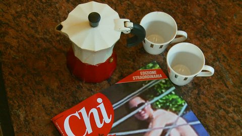 Kate Middleton scandal magazine censored nudity. The infamous Italian CHI magazine, with the photographs of a topless Kate Middleton,  shocking news. Released on 17 September 2012. Rome, Italy.
