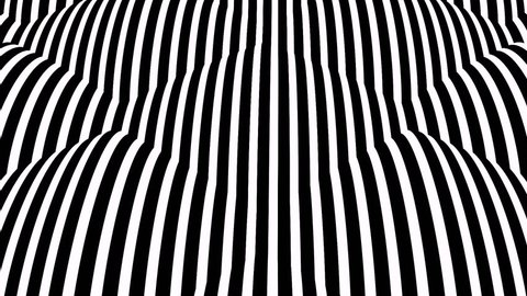 Video in the style of optical visual illusions - Op art. Striped balls rolling on the viewer.