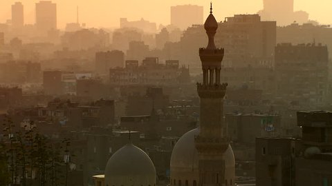 The skyline of Cairo, Egypt, at dusk