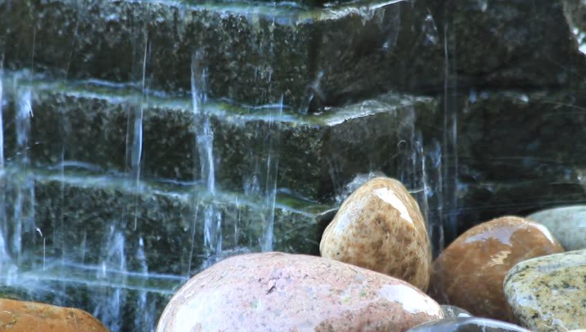 Garden Design Videos decoration waterfall over stone, garden design, background stock