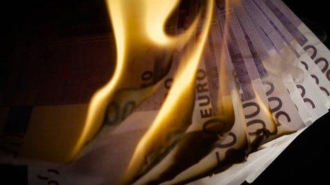 Burning five hundred Euro Slow motion
