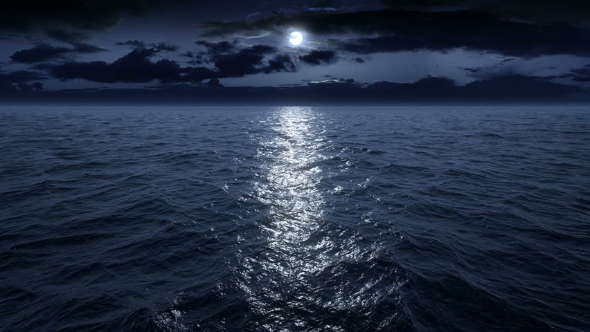 Flying over the ocean at night. Facing the moon. Full HD | Shutterstock HD Video #12745076