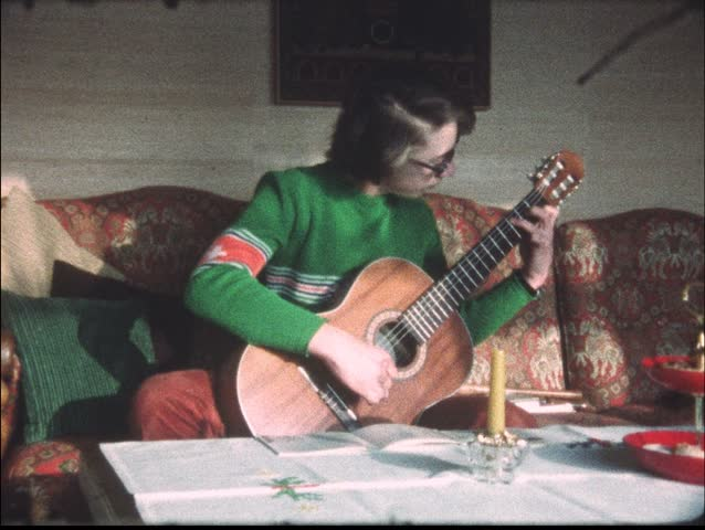 Guitar playing in the 1970s (vintage 8 mm amateur film)