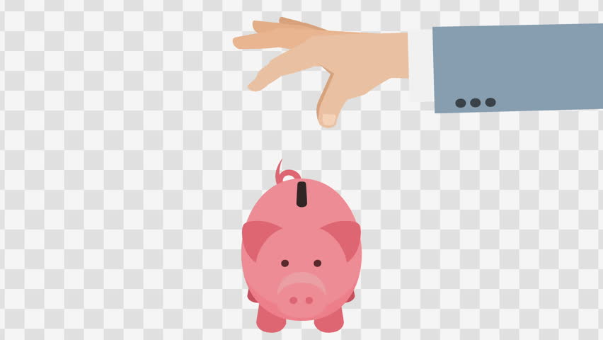 Hand Puts Money In Piggy Bank. Animated scene with Alpha matte.