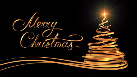 "Writing Golden Ribbon Text ""Merry Christmas"" And Christmas Tree Over Black Background. 3D Animation."