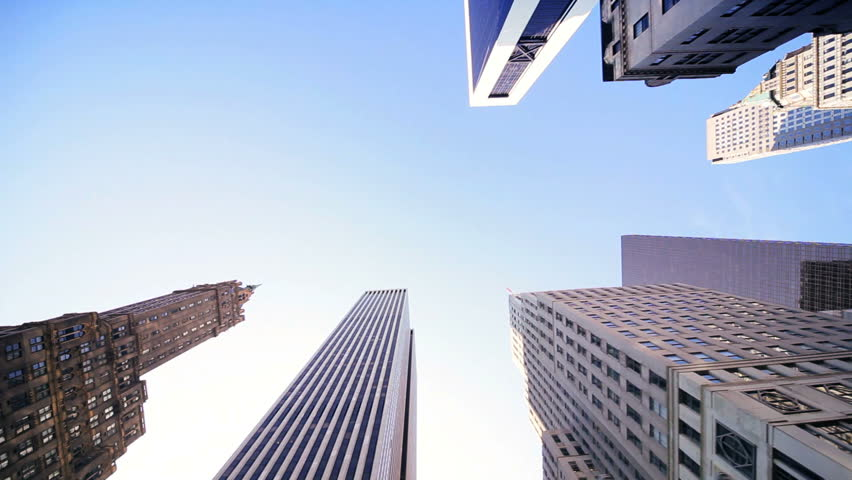 Elevated view of Steel, Glass and Concrete Skyscrapers, dominating the Skyline, North America, USA