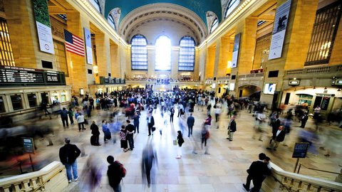 NEW YORK - MAY 6: (Timelapse View) Passengers traveling through Grand Central Station May 6, 2011 in New York, NY. Grand Central is the largest train station in the world by number of platforms.
