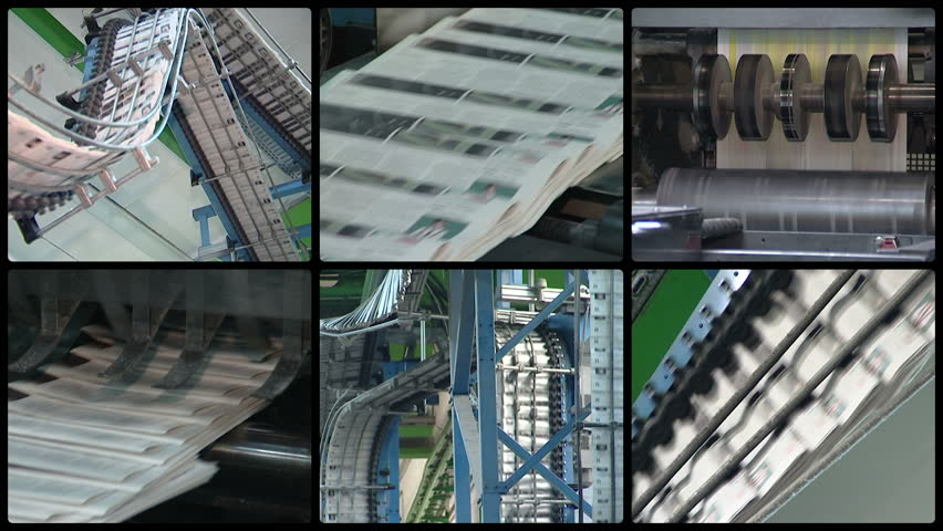 Newspapers printing technology. Machine printing daily press. Produce paper press. Montage of different video footage clips collage. Split screen. Black round corner frame. Full HD 1080p. | Shutterstock HD Video #12857972