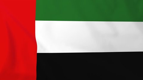 Flag of United Arab Emirates, slow motion waving. Rendered using official design and colors. Highly detailed fabric texture. Seamless loop in full 4K resolution. ProRes 422 codec.