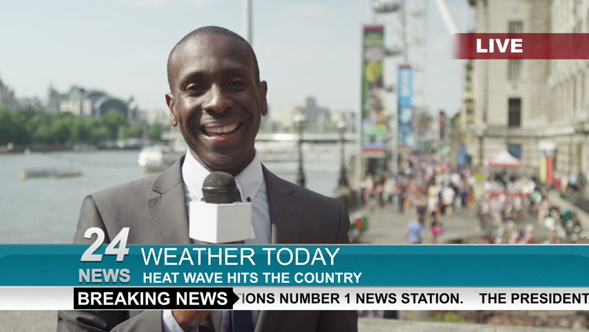 4K TV weather reporter doing live piece to camera outdoors in the city of London. Shot on RED Epic. | Shutterstock HD Video #12863282