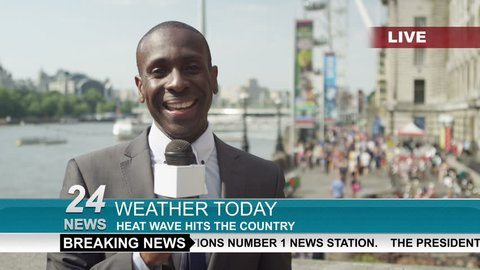 4K TV weather reporter doing live piece to camera outdoors in the city of London. Shot on RED Epic.