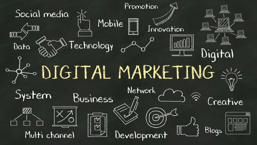 Handwriting Concept Of Digital Marketing At Chalkboard With Various Diagram C