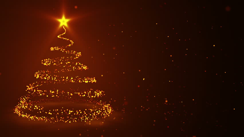 Abstract background with animation of rotating Christmas tree from glowing lines and particles. Animation of seamless loop. | Shutterstock HD Video #12882092