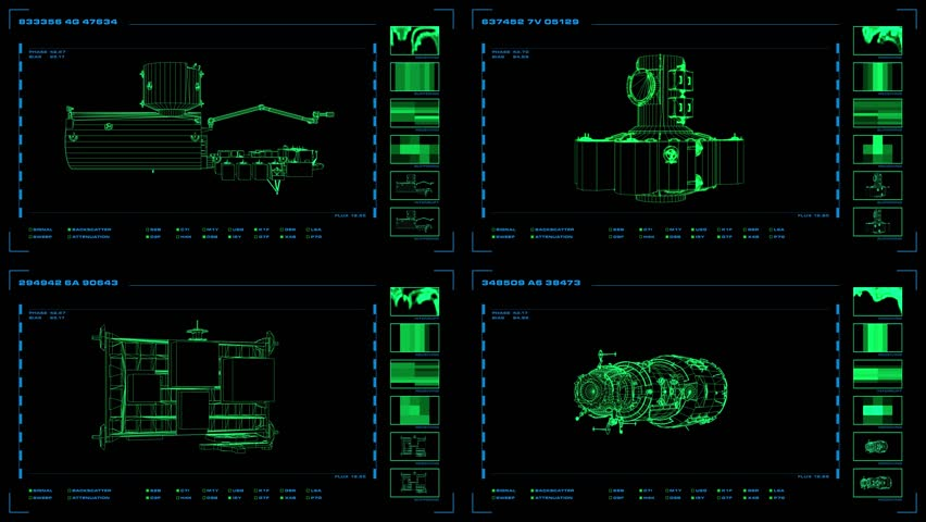 Looping, four-panel wireframe display of modular elements with related readouts and indicators.