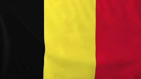Flag of Belgium, slow motion waving. Rendered using official design and colors. Highly detailed fabric texture. Seamless loop in full 4K resolution. ProRes 422 codec.