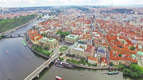 Area Old Town, Charles Bridge, Prague Castle and Vltava River. Czech Republic.