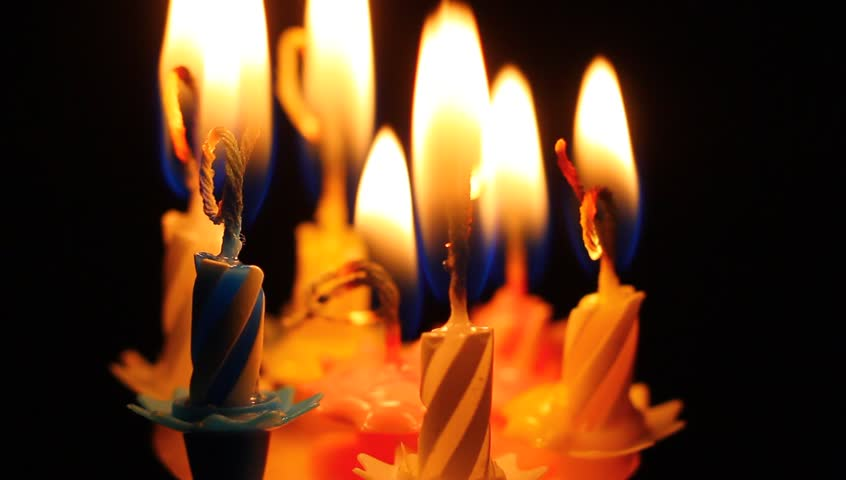 Birthday candles macro clip. Candles in flames, slowly burning down. #12943592