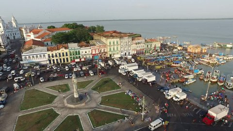 Aerial View Ver-o-peso market in Belém do Pará City - Brazil