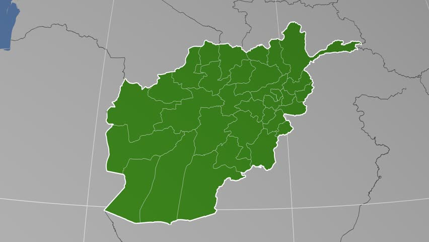 Zabul Province Extruded On The Administrative Map Of Afghanistan Solid Colors Used 4k