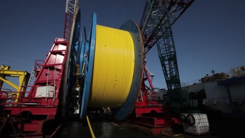 Cable laying vessel for deep-sea fiber optic cable along the bottom of the Sea of Okhotsk.