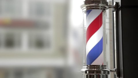 Barber Pole Spinning at a Barbershop.