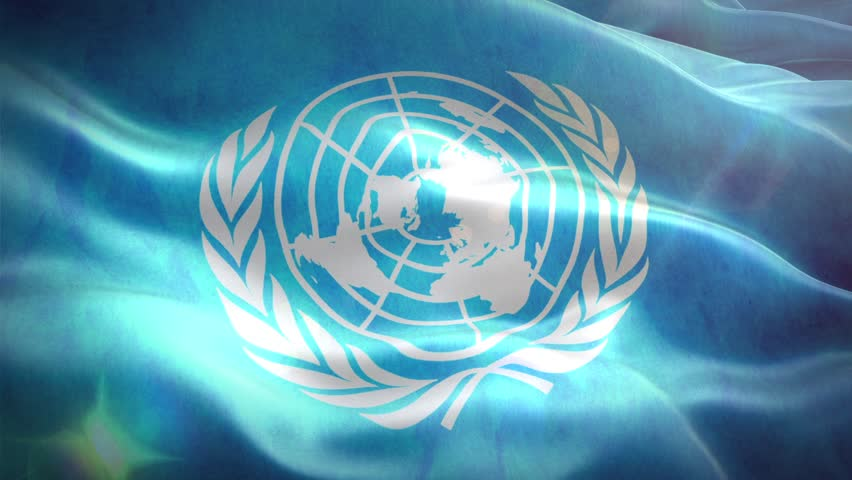 Animated 3D flag of United Nations Organization. loop