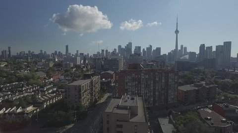 Aerial view downtown Toronto over King street in a sunny day