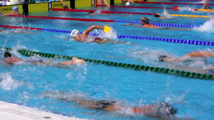 KAZAN, RUSSIA   27 JULY 2015: Athletes Swimmers Train In A Pool Of Aquatics  Palace. 16th FINA World Championships. Stock Footage Video 13047962 | ...