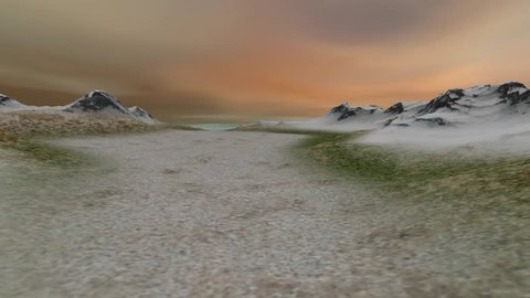 Winter landscape, a beautiful animation, snowy mountains grass and rocky terrain and a wonderful sky.