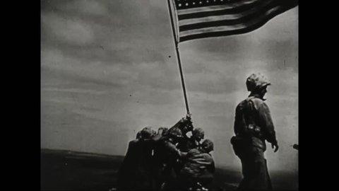 CIRCA 1940s - Famous Iwo Jima Marines flag planting during World War II.