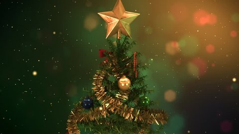 Christmas Tree with Lights, Shiny Ornaments and Golden Star.