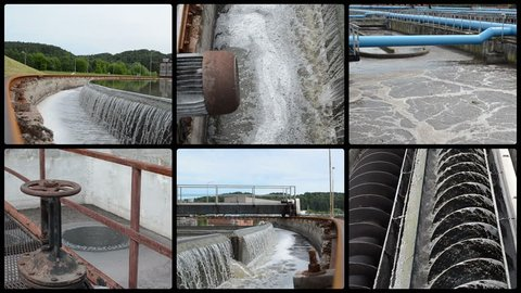 Waterworks. Sewage waste water treatment plant. Water sedimentation and filtration. Montage of video clips collage. Split screen. Black round corner frame. Full HD 1080p.