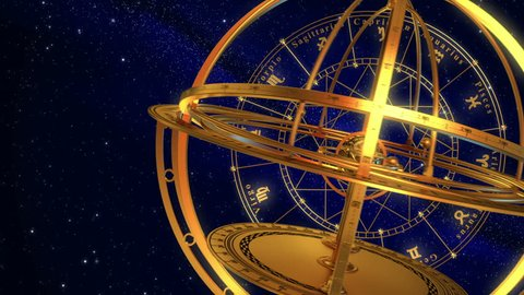 Armillary Sphere And Zodiac Signs. Blue Background. 3D Animation.