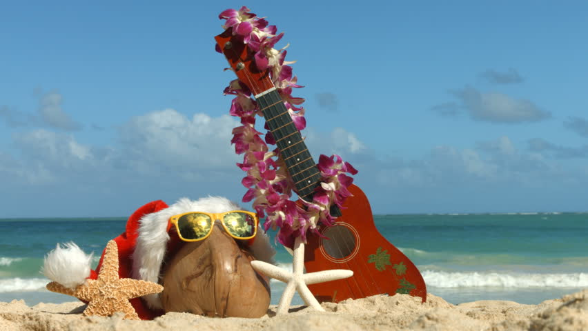 Hawaii Christmas.Christmas Santa Hat Ukulele And Stock Footage Video 100 Royalty Free 13122752 Shutterstock