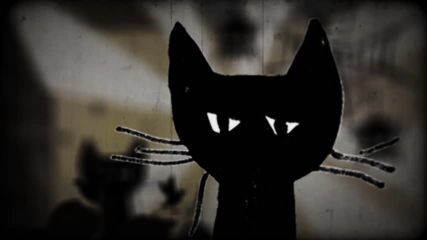 Black Cats Appear and Blink, cats are looking, Haloween, scarecrow, horror stories, spiders on a cobweb, spiderweb, old funny humorous movie, cartoon made up of plasticine and paper, animation, dark