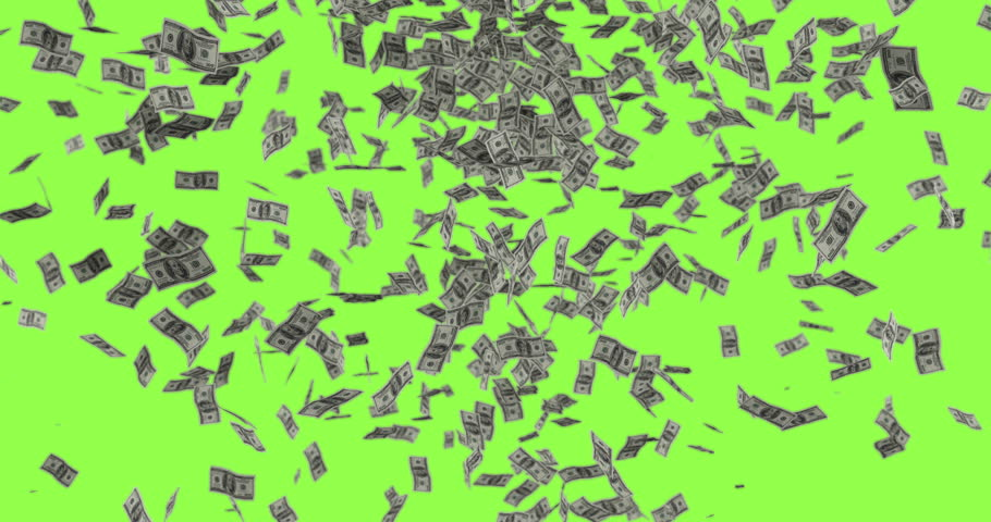 Moneydollar Bills Rain Down Greenscreen Stock Footage Video 100
