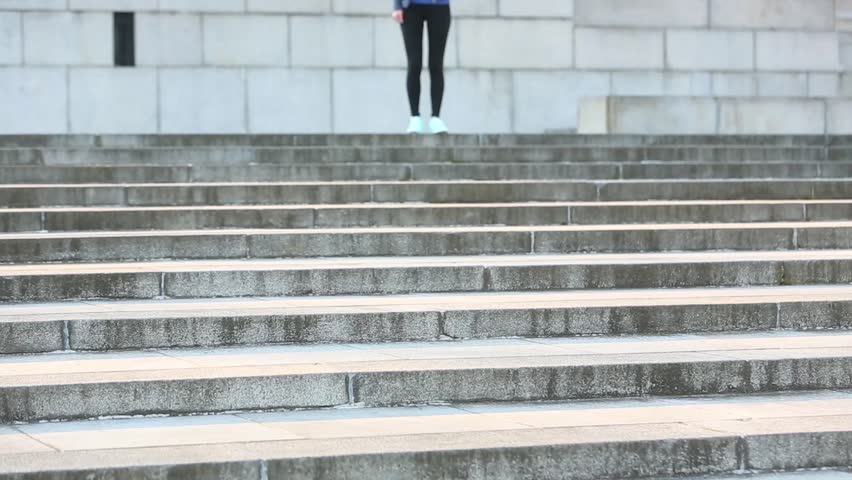 Girl exercises on steps | Shutterstock HD Video #13142582